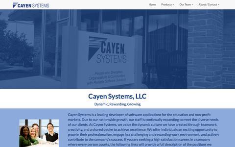 Screenshot of Jobs Page cayen.net - Cayen Systems Careers - captured Jan. 27, 2016