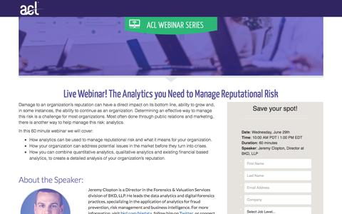 Screenshot of Landing Page acl.com - The Analytics you Need to Manage Reputational Risk - captured March 4, 2018