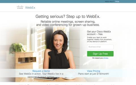 Screenshot of Landing Page webex.com - Sign Up for Cisco WebEx Meetings Basic or Premium | WebEx - captured April 29, 2016