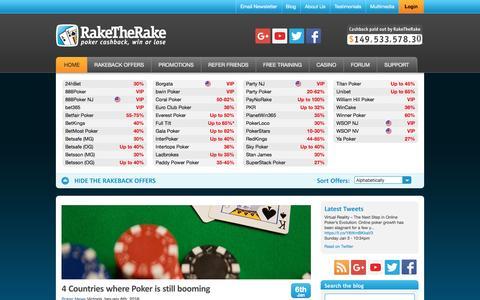 Screenshot of Blog raketherake.com - Poker News | Rakeback Poker Tips, Online Poker Tournament News and Offers| Rakeback News - captured Jan. 12, 2016