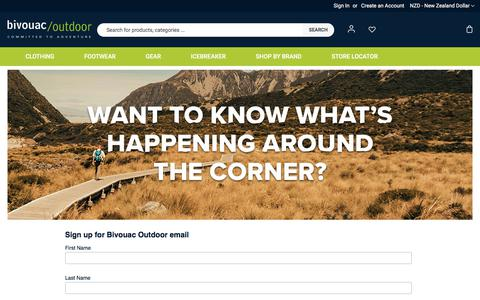 Screenshot of Signup Page bivouac.co.nz - Sign up for Bivouac Outdoor emails - offers, events & cool new gear - captured Feb. 6, 2020