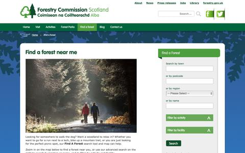 Screenshot of Maps & Directions Page forestry.gov.uk - Find a forest near me - captured Oct. 19, 2018