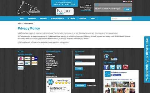 Screenshot of Privacy Page luba-paardendekens.nl - Privacy Policy - LuBa Paardendekens | LUBA HORSE BLANKETS - captured Oct. 3, 2014