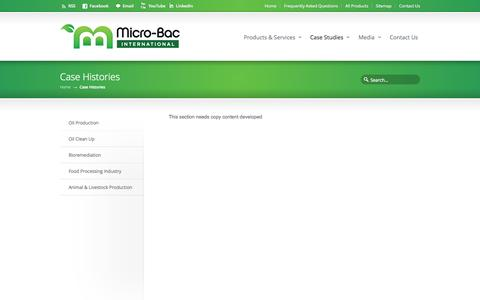 Screenshot of Case Studies Page micro-bac.com - Case Histories «  Micro-Bac - captured Oct. 27, 2014
