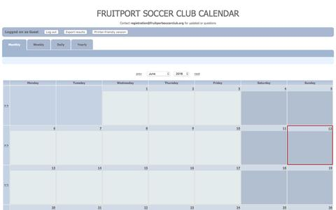 Screenshot of Menu Page fruitportsoccerclub.org - Monthly - captured June 13, 2016