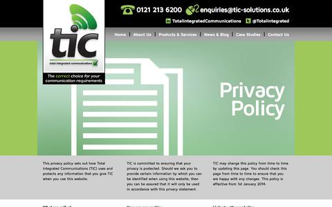Screenshot of Privacy Page tic-solutions.co.uk - Total Integrated Communications  » Privacy Policy - captured Oct. 1, 2014