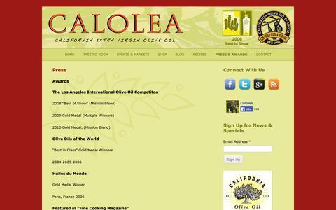 Screenshot of Press Page calolea.com - Press   Calolea Olive Oil - captured Oct. 1, 2014