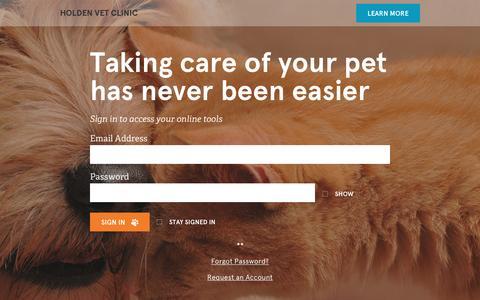 Screenshot of Login Page vetsecure.com - Holden Vet Clinic - captured Jan. 30, 2016
