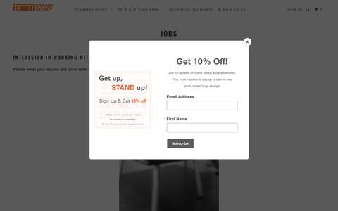 Screenshot of Jobs Page standsteady.com captured Sept. 23, 2018