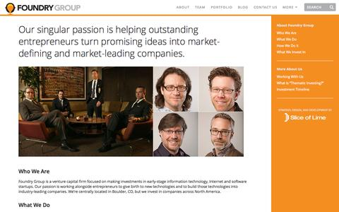 Screenshot of About Page foundrygroup.com - About Foundry Group | Foundry Group - captured Sept. 23, 2014