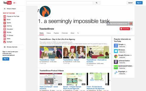 Screenshot of YouTube Page youtube.com - ToastedSnow  - YouTube - captured Oct. 25, 2014