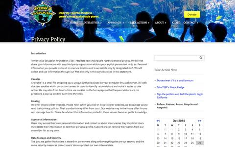 Screenshot of Privacy Page trevorfoundation.org - Trevor's Eco-Education Foundation  Privacy Policy - Trevor's Eco-Education Foundation - captured Oct. 26, 2014