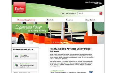 Screenshot of Case Studies Page beckettenergy.com - Advanced Battery Technology Featuring Lithium Ion Energy - captured Oct. 10, 2017
