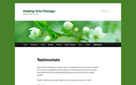 Screenshot of Testimonials Page healingartschicago.com - Testimonials | Healing Arts Chicago - captured Oct. 2, 2014