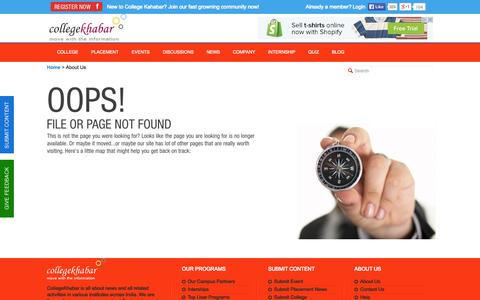 Screenshot of About Page collegekhabar.com - College Khabar - Engineering Placement News, Student College Reviews, Company Reviews, College Events,Placement Papers, Student Interviews - captured Sept. 19, 2014