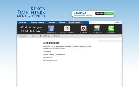 Screenshot of Press Page kdmc.com - Media Contacts - captured Oct. 6, 2014