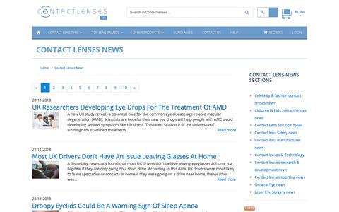 Screenshot of Press Page contactlenses.in - Contact Lenses News :: Buy Cheap Contact lenses in India - captured Dec. 1, 2018