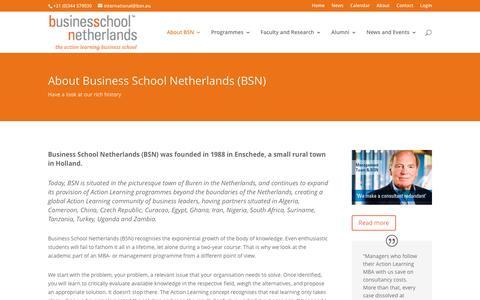 Screenshot of About Page bsn.eu - About BSN - BSN - Business School Netherlands - captured Dec. 25, 2016