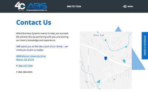 Screenshot of Contact Page alliedbiz.com - Contact Us - Allied Business Systems, LLC - captured Oct. 3, 2018