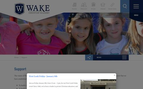Screenshot of Support Page wakechristianacademy.com - Support - Wake Christian Academy - captured Jan. 10, 2016