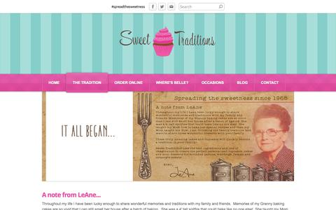 Screenshot of About Page sweettraditionsbyleane.com - The Tradition - Sweet Traditions - captured Sept. 30, 2014