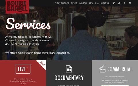 Screenshot of Services Page doublebarrelstudios.com - Double Barrel Studios - Canadian Digital Video Production Company based in Hamilton Burlington Niagara GTHA - captured Oct. 12, 2017
