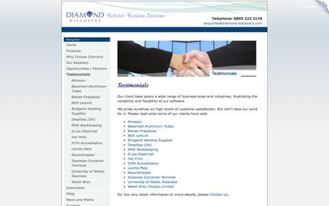 Screenshot of Testimonials Page diamond-discovery.com - Testimonials - Diamond Discovery Software - captured Oct. 5, 2014