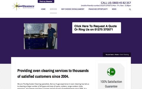 Screenshot of Services Page ovengleamers.com - Oven Cleaning - OvenGleamers - captured Dec. 4, 2015