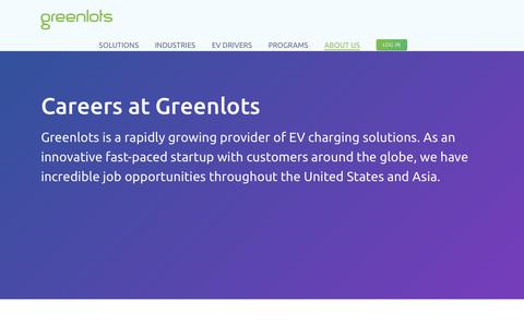 Screenshot of Jobs Page greenlots.com - Careers - Greenlots - captured July 13, 2018