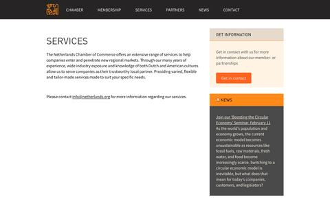Screenshot of Services Page netherlands.org - Services - The Netherlands Chamber of Commerce in the United States, Inc. : The Netherlands Chamber of Commerce in the United States, Inc. - captured Feb. 15, 2016