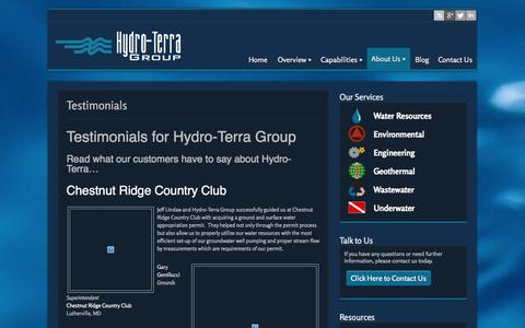 Screenshot of Testimonials Page hydro-terra.com - Testimonials - Hydro-Terra Group Environmental Engineers & Consultants - captured Oct. 3, 2014
