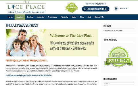 Screenshot of Services Page theliceplace.com - The Lice Place: Lice Removal & Treatment Clinics - captured Sept. 7, 2019