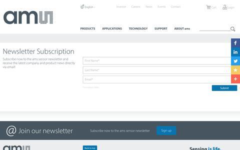 Screenshot of Signup Page cmosis.eu - ams sensor news form - ams - captured Nov. 9, 2018