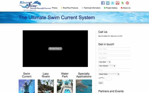 Screenshot of Home Page current-systems.com - Swim Current - Swim Spa Riverflow by Current Systems - captured June 16, 2016