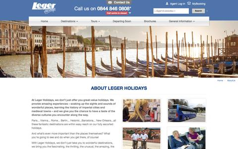 Screenshot of About Page leger.co.uk - Why Travel with Leger Holidays? | Leger Holidays - captured Jan. 17, 2016