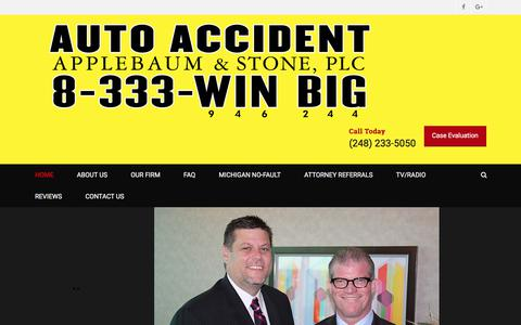 Screenshot of Home Page applebaumstone.com - Applebaum & Stone PLC-Michigan Auto & Personal Injury Law Firm - captured Sept. 25, 2018