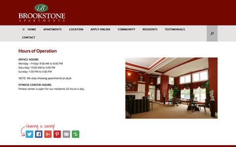 Screenshot of Hours Page brookstoneapartments.com - Hours of Operation – Brookstone Apartments - captured July 2, 2018