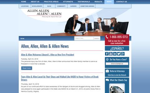 Screenshot of Press Page allenandallen.com - News & Current Events from Virginia Personal Injury Lawyers   Allen & Allen   Richmond, Charlottesville, Petersburg and Fredericksburg   Virginia - captured April 26, 2018