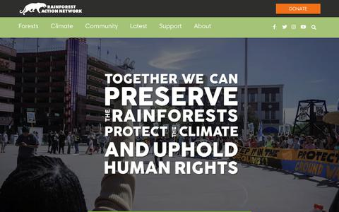 Screenshot of Home Page ran.org - Rainforest Action Network - Fighting for People and Planet - captured Aug. 3, 2018