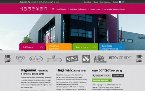 Screenshot of Home Page hageman.nl - Fulfilment, e-services, plastic cards | Hageman - captured Oct. 1, 2014