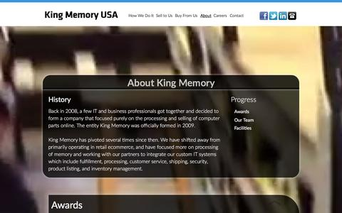 Screenshot of About Page kingmemoryusa.com - King Memory - About - captured Dec. 24, 2015
