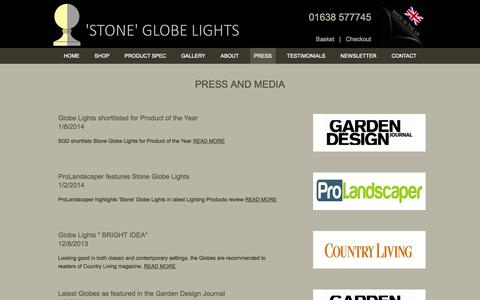 Screenshot of Press Page stoneglobelights.co.uk - Outdoor lighting - captured Oct. 7, 2014