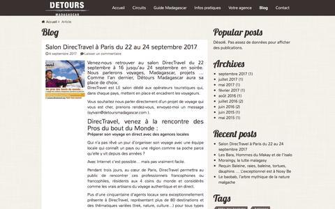 Screenshot of Blog voyagemadagascar.com - Article Archives - Détours Madagascar - captured Oct. 13, 2017