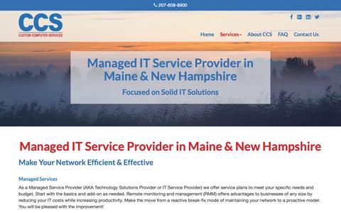 Screenshot of Services Page customcomputer.me - Managed IT Service Provider | Maine & NH | Custom Computer Service - captured Sept. 30, 2018