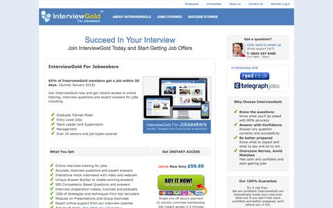 Screenshot of Signup Page interviewgold.com - Online Job Interview Training For Jobseekers - captured Sept. 30, 2014