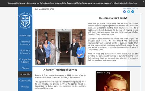 Screenshot of About Page craigins.com - An Introduction to the History, Founder, and Staff of Francis J. Craig Agency - captured Nov. 25, 2016