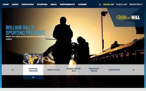 Screenshot of Home Page williamhillplc.com - William Hill PLC - captured Dec. 6, 2015
