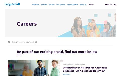 Screenshot of Jobs Page capgemini.com - Jobs in outsourcing, technology, IT consultancy jobs with Capgemini - captured Jan. 20, 2018