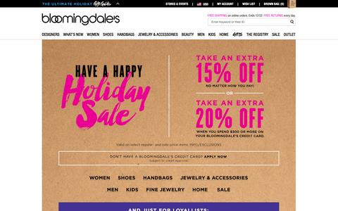 Screenshot of Home Page bloomingdales.com - Shop Bloomingdale's | Designer Dresses, Clothes, Shoes, Handbags, Cosmetics, Home and More - captured Dec. 15, 2015