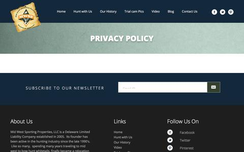 Screenshot of Privacy Page mwspllc.com - Mid West Sporting Properties, LLC  Privacy Policy - Mid West Sporting Properties, LLC - captured Oct. 18, 2017